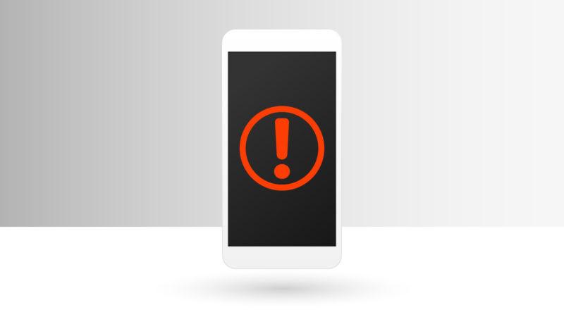 アプリローン 危険-スマホの画面に映る赤いビックリマーク