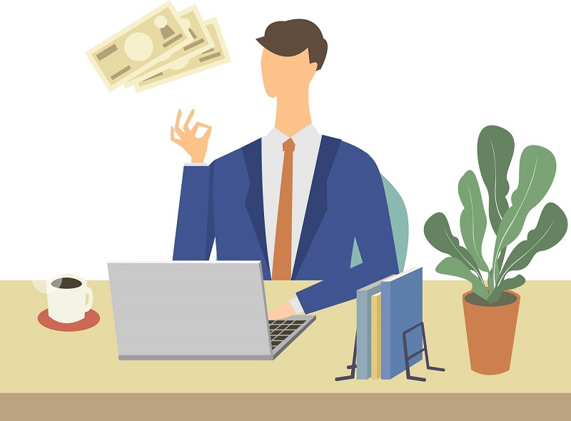 お金の勉強する男性